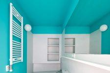 a cool color block bathroom