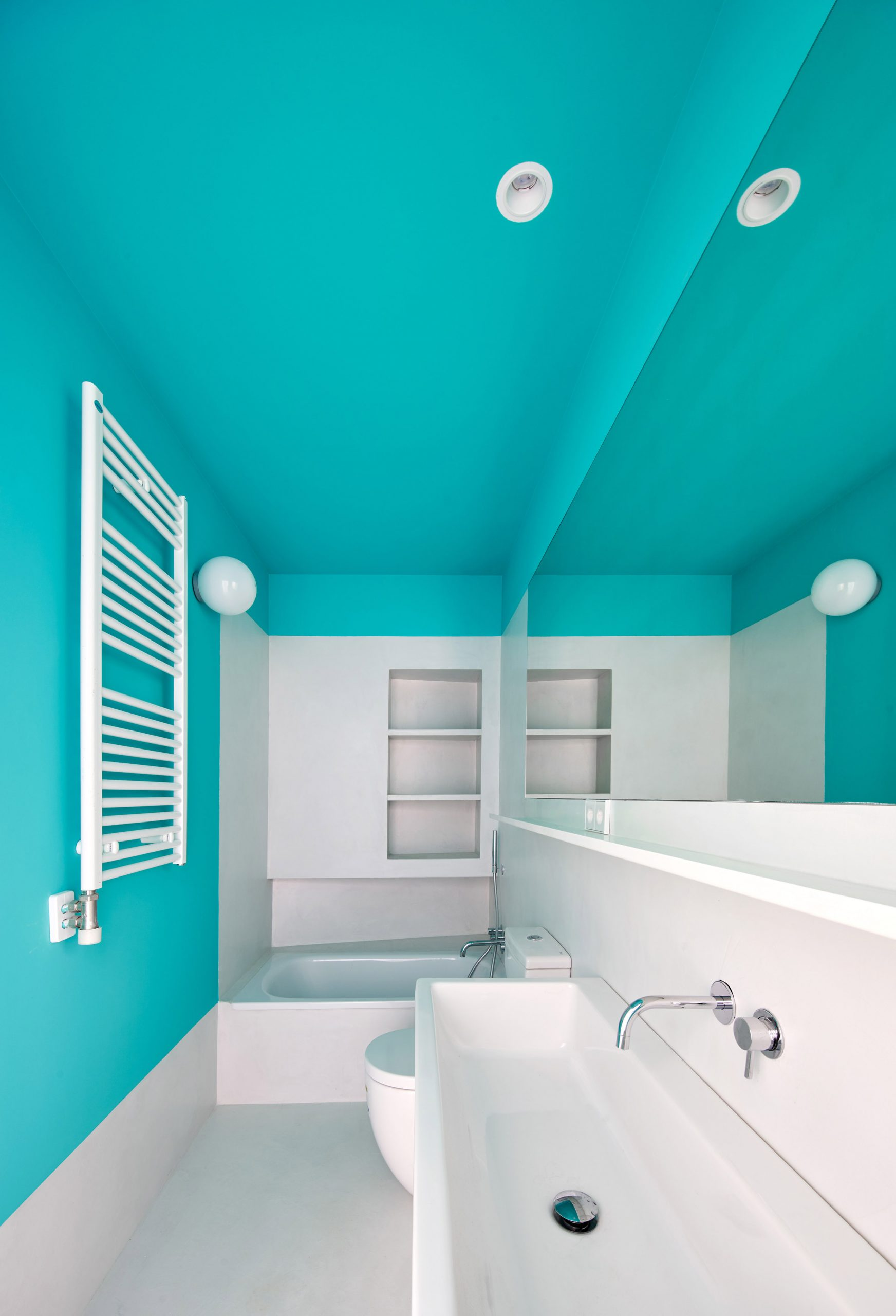 a cool color block bathroom