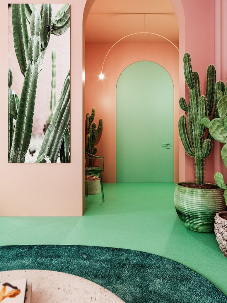 The entryway is also pink and green, with a lot of cacti and some simple furniture