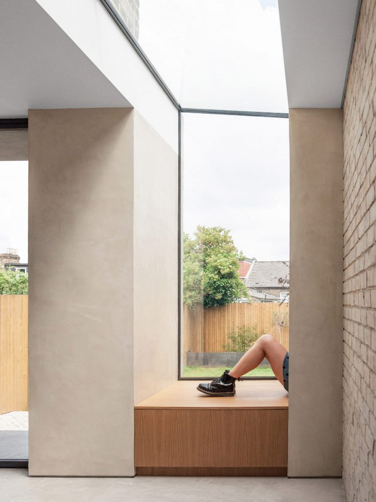 The same materials were used both inside and outside to make the extension more cohesive and connect both spaces