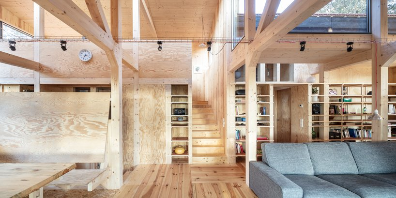 Timber is widely used throughout the space, there are wooden pillars and walls and floors are made of wood