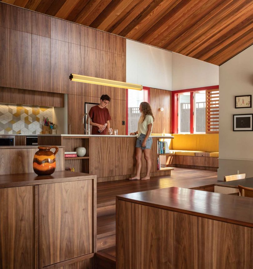 There's much cedar in decor and it brings a warm feeling of coziness to the spaces