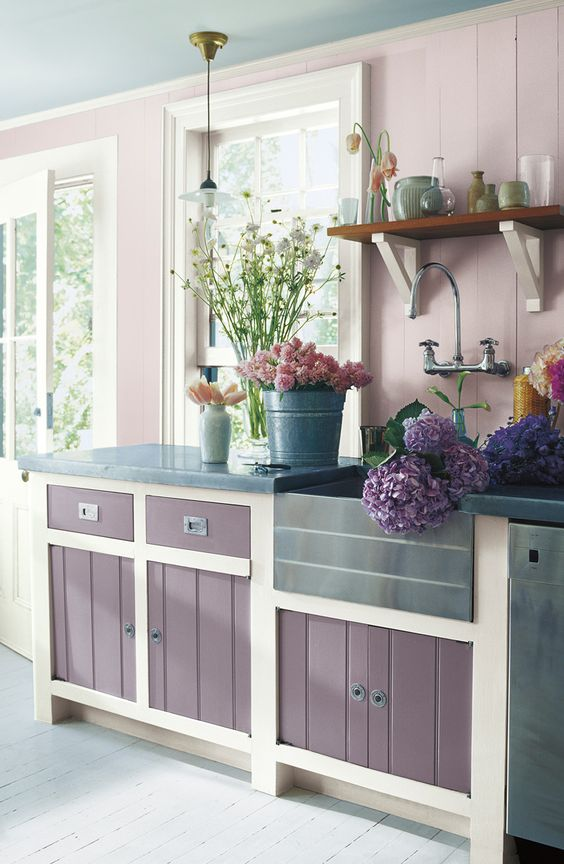a farmhouse purple and blush kitchen with white touches to refresh it looks very romantic and very inviting