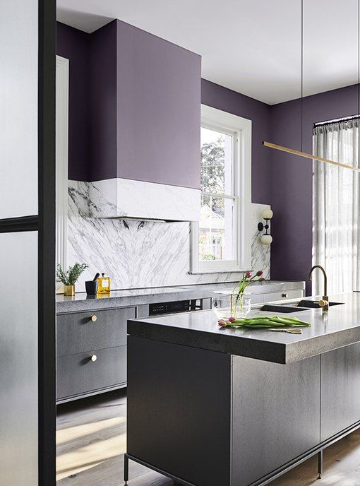 an ultra-modern kitchen with grey cabinets, white stone countertops and a backsplash and deep purple walls