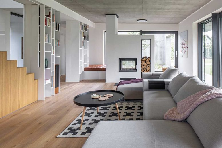 This contemporary house in Prague is a family home with open layouts and comfy furniture