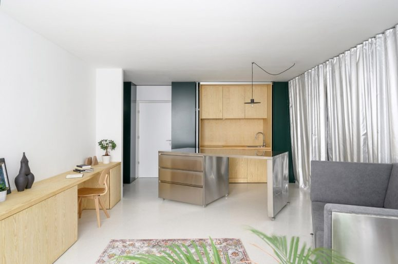 Modern Apartment With Mobile Stainless Steel Furniture