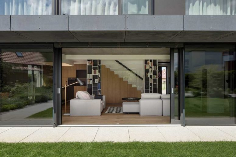 The house can be opened to outdoors with glass doors with a view