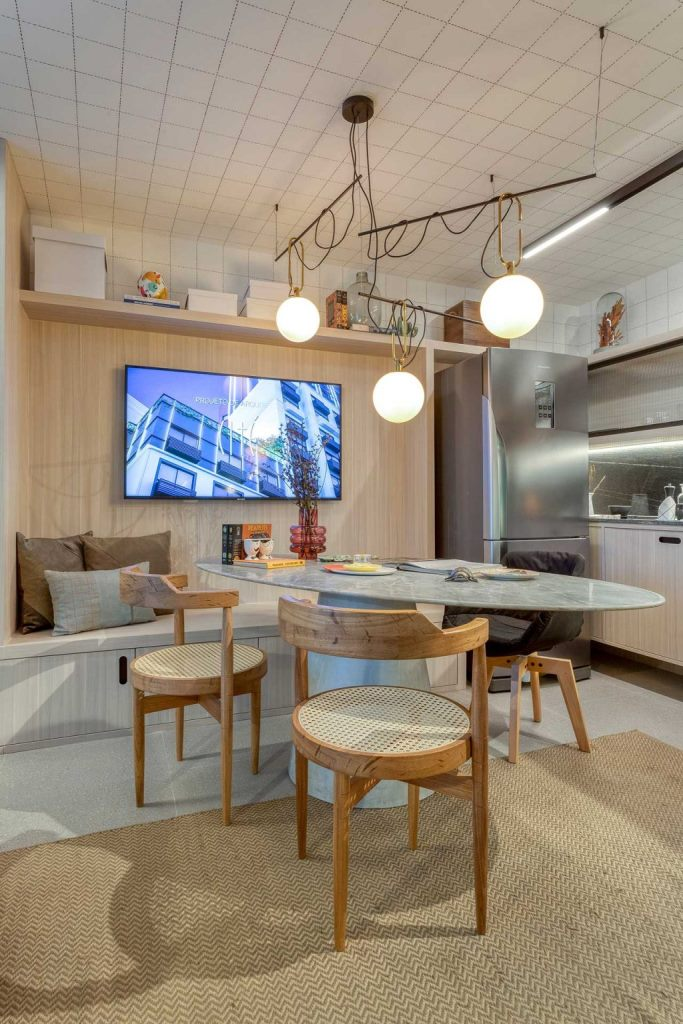 The dining space doubles as a working space, too, and is very comfy even for several people