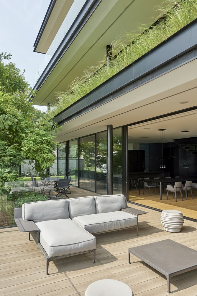 The ground floor living areas have easy access outside through a series of sliding glass doors