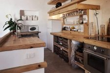 a kitchen with cozy wooden countertops