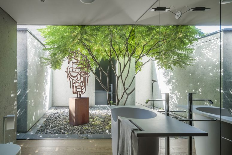 Several indoor gardens were included into the design as a way to bring the outdoors in and to blue the boundaries between architecture and nature