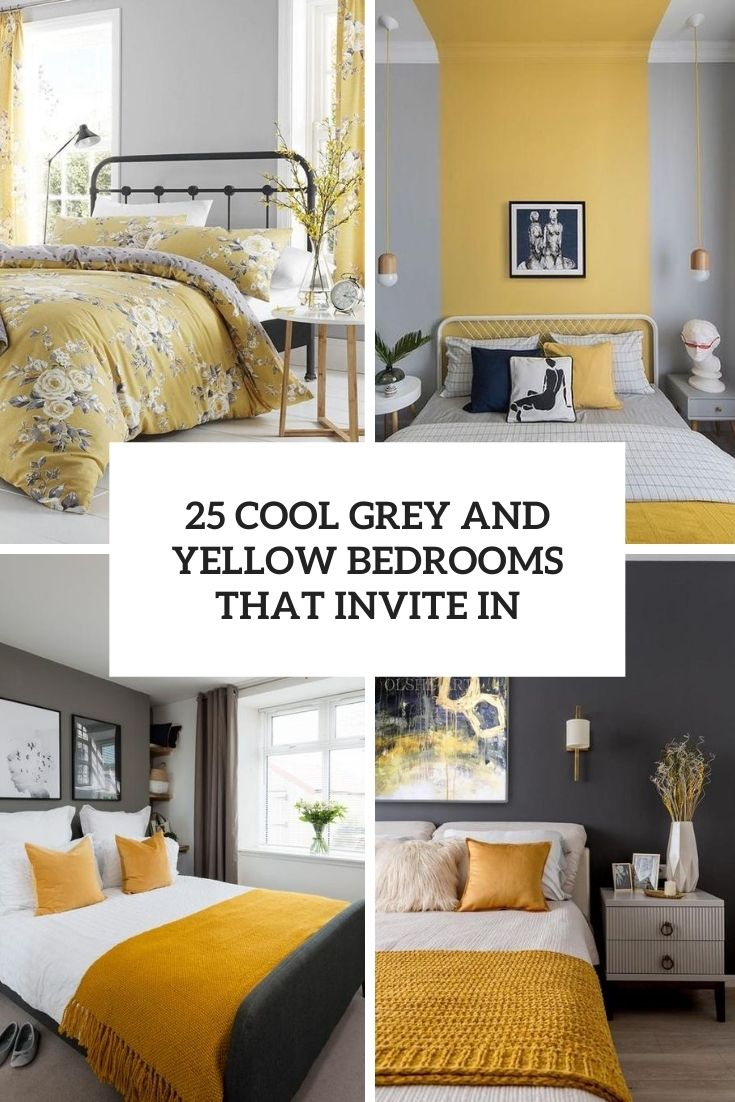 25 Cool Grey And Yellow Bedrooms That Invite In