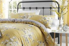 a vintage-inspired yellow bedroom design
