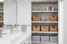 02 a neutral shabby chic bathroom with shabby chic open shelves on one side that give plenty of storage space