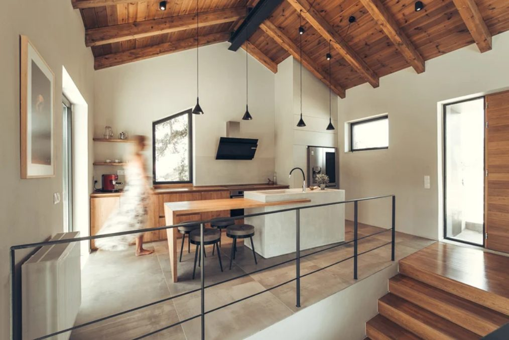 a stone kitchen island is a quite practical solution