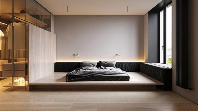 The bedroom is all-minimalist, with a bed on a platform and built-in lights