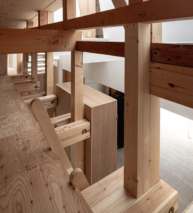 The whole house is made of wood and plywood and they aren't polished at all - the architect wanted the owners to enjoy these looks and textures