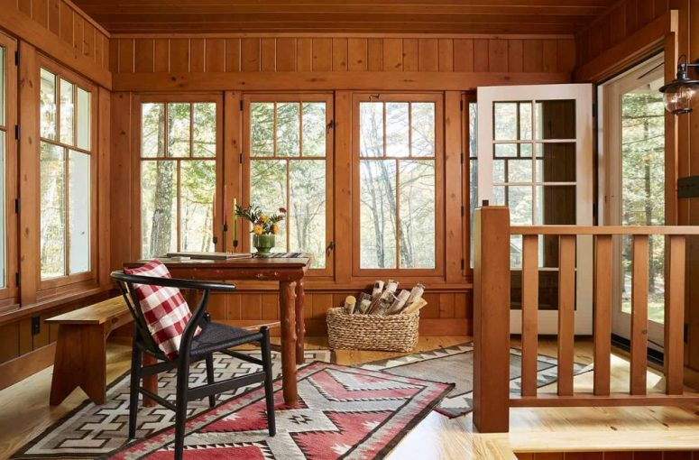 The work space shows all-rustic decor and styling and cool views