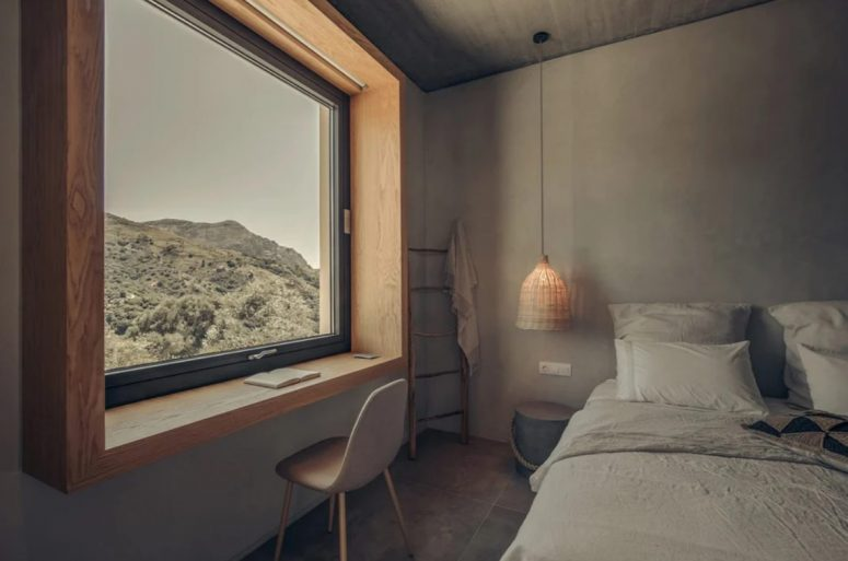 This bedroom is very laconic and is centered around the views