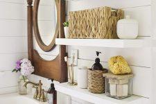 07 classic open bathroom shelving over the toilet are an elegant idea for a rustic or farmhouse bathroom