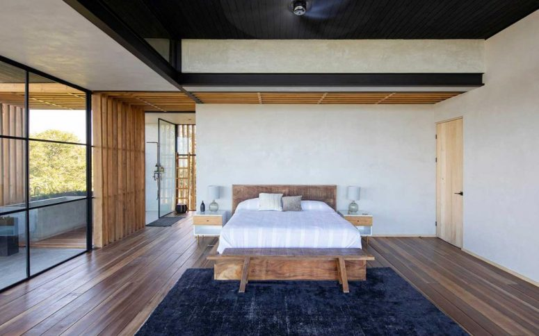 concrete tub in a bedroom is a quite stylish solution