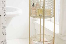 11 a refined gold net rolling cart is a lovely idea for a romantic or just girlish bathroom