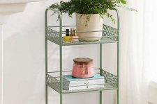 15 a vintage green rolling cart is a nice splash of color and a chic item for a cool look