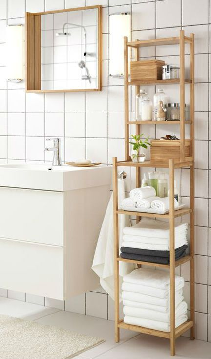 a Ragrund shelving unit by IKEA will be a perfect option for a modern or contemporary bathroom