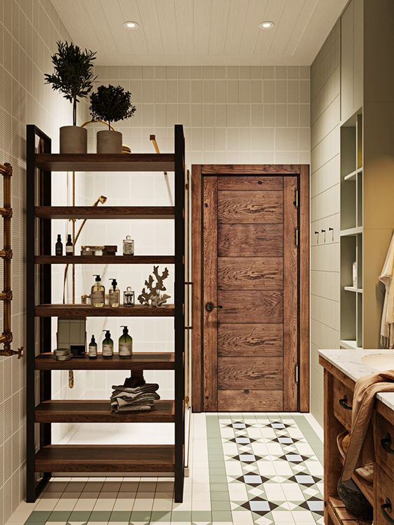 a comfortable stained wood shelving unit that divides this bathroom into zones is a very practical thing
