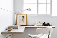 a corner floating desk is quite space saving solution