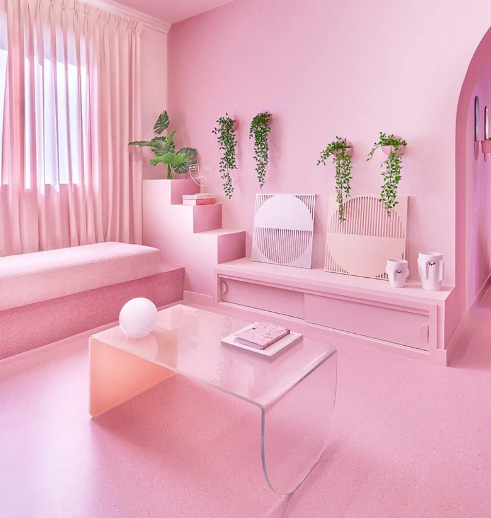 This apartment is called 'Minimal Fantasy' and it was done in all shades of pink