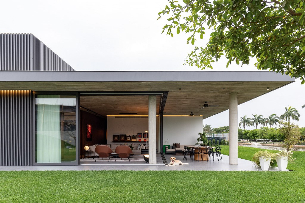 Sliding doors open the living room to outdoors making it another outdoor room