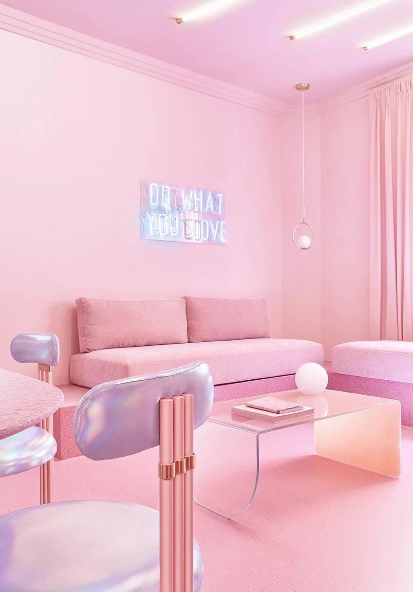 a completely pink living room design