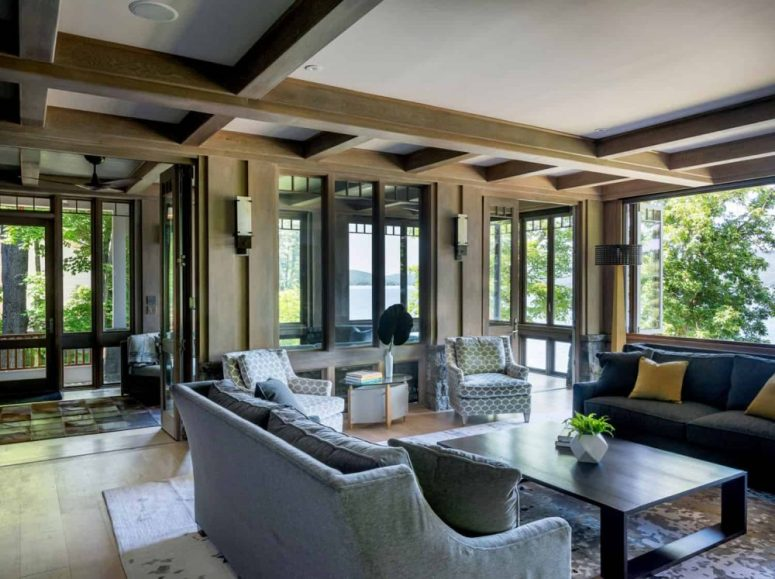 There's extensive glazing all around and it brings much natural light inside the space