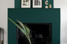 06 a fantastic teal brick fireplace spruces up a monochromatic room making it bolder and catchier and adds color to it