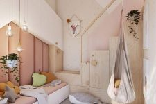 10 a contemporary pastel bedroom with an upholstered wall, creative storage units, layered rugs and pretty throws and toys