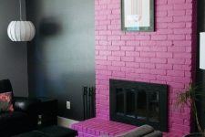 11 a moody living room with a hot pink brick fireplace that brings much color and makes the space playful