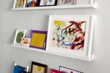 18 modern white ledges like these ones will show off your kids' artworks at their best – in frames or without any