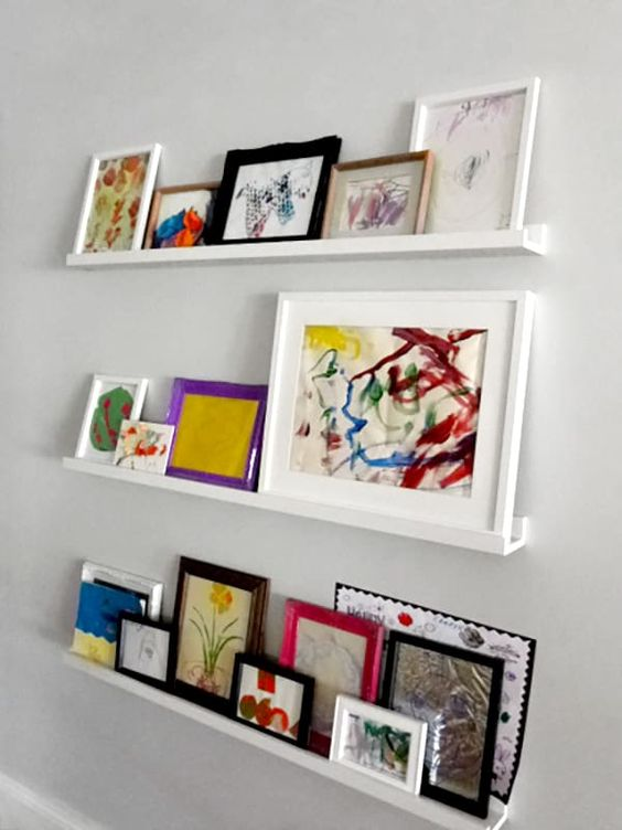 modern white ledges like these ones will show off your kids' artworks at their best - in frames or without any