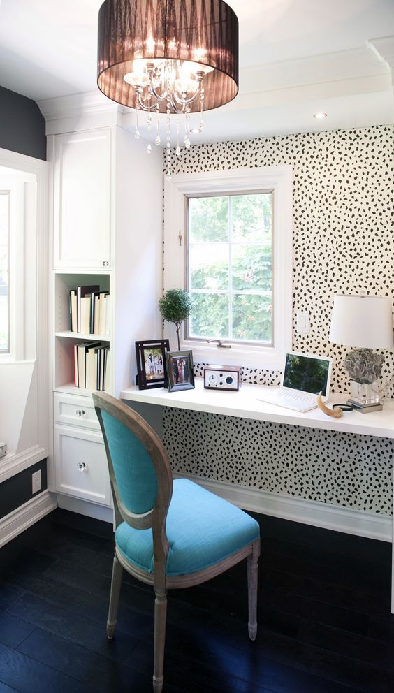 animal printed wallpaper accentuates a small home office nook and brings pattern and a fun touch to the space