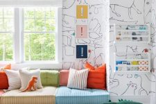 25 a stylish modern reading nook with colorful seats and pillows, bold art and books in shelves
