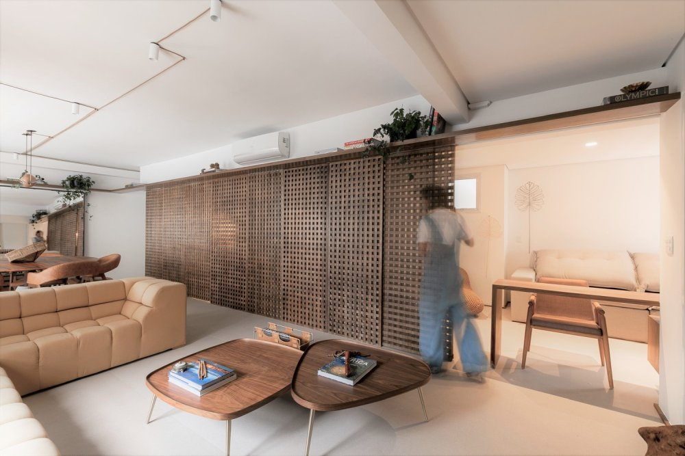 This stylish contemporary apartment is inspired by nature, which is shown in its color palette, and by Islamic architecture