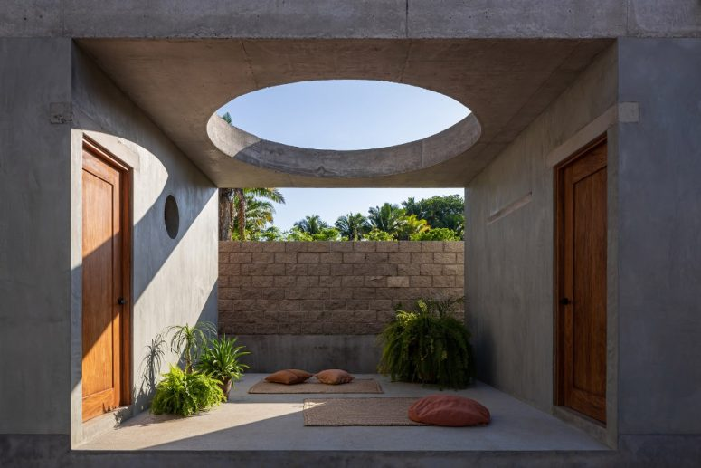 This patio is a great space for yoga and meditation, there's a circular opening over it