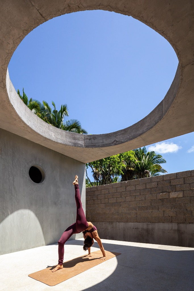 This hole illluminates a space for yoga