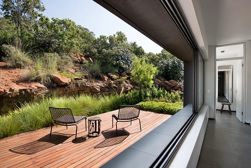 All the bedrooms feature their own private timber decks stepping into the rocky mountainside
