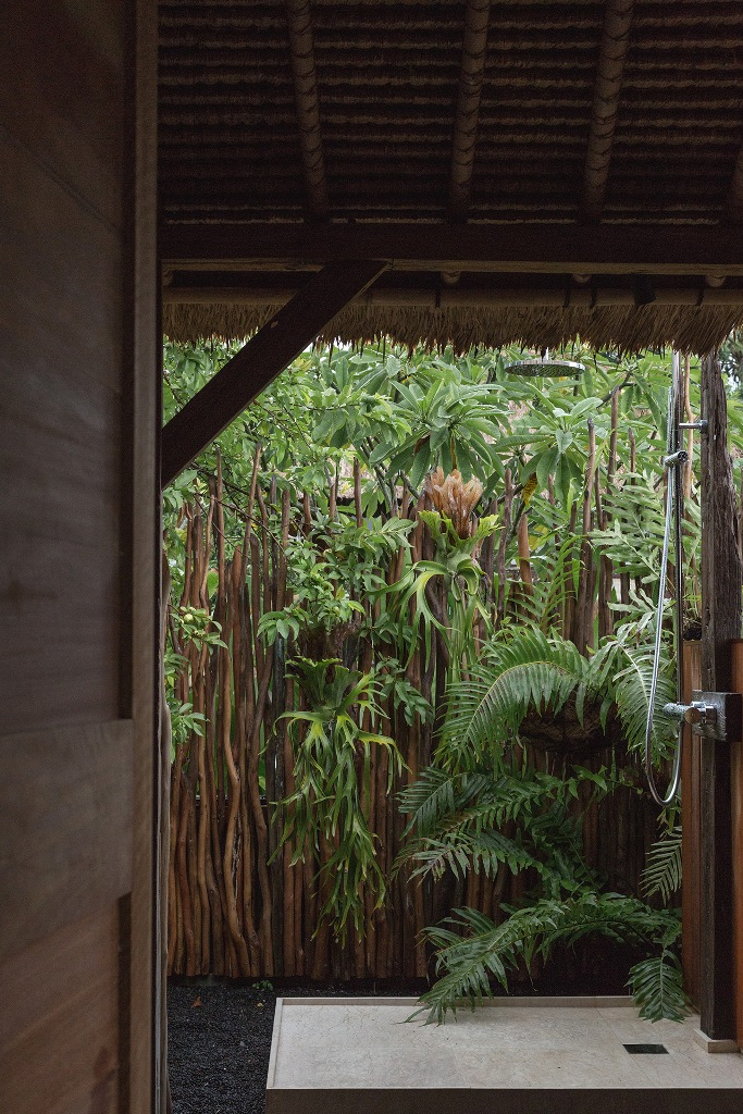 an outdoor shower is a must for a zen retreat