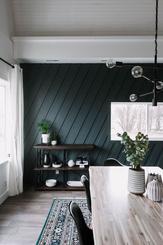 a mid century modern dining room with a hunter green geometric paneled wall, an industrial shelf, a wooden table and a catchy chandelier