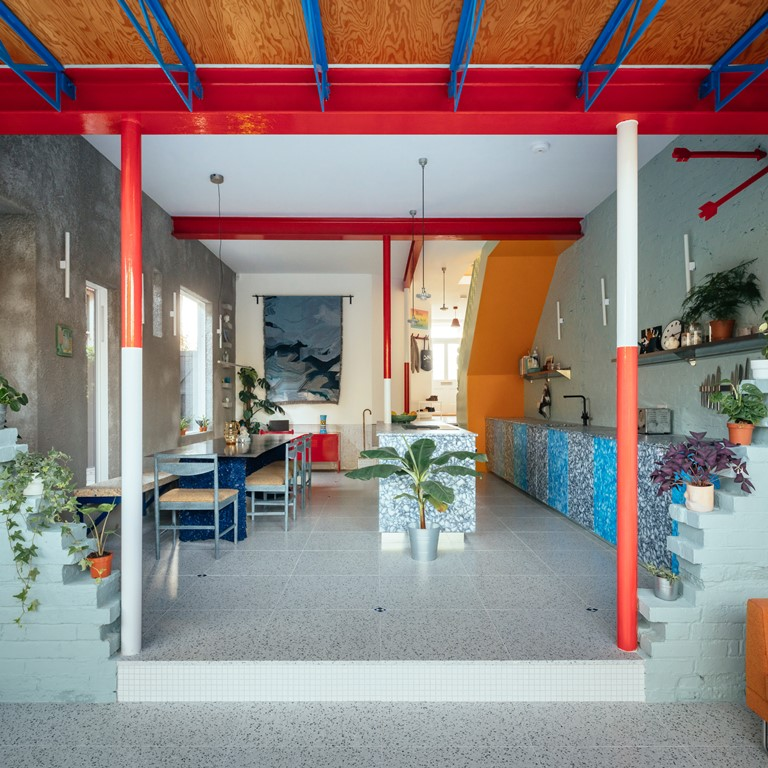 Inside, the house is filled with colours, patterns and playful references