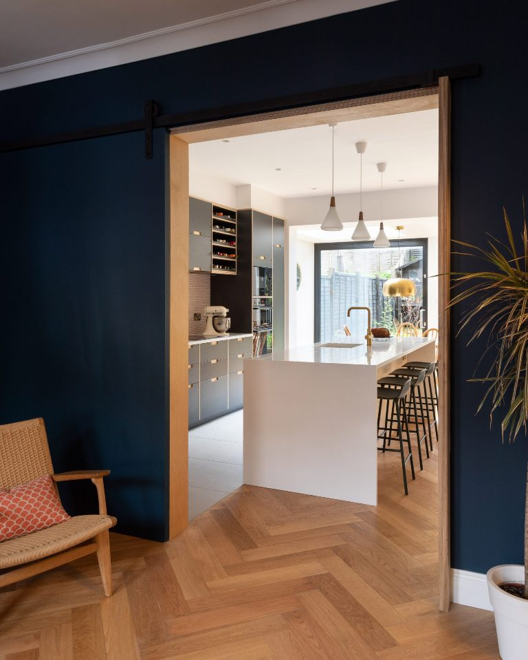 The extension was used for a large open-plan kitchen and sitting area