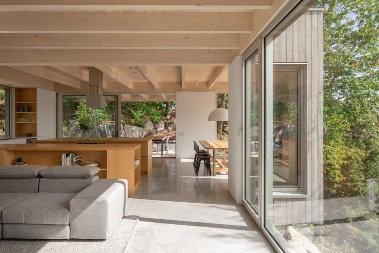 The main space is an open layout with a dining space, a kitchen and a living room, the furniture is simple and minimal